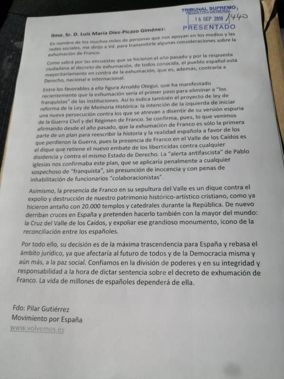 Carta personal al TS